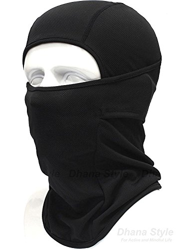 Dhana Style Open-Close UV Protection Balaclava Face Mask Neck warmer Neck cover - Elastic Fabric - Protects From Wind, Sun, Dust - For Various Outdoor Actvities Type: BXB-MUJI (Black)