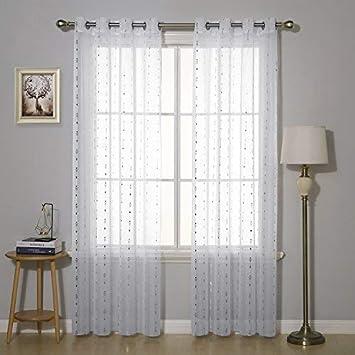 Stoff 240x140 Deconovo Gardinen Transparent Wohnzimmer Voile Vorhang /Ösenschal 240x140 cm Wei/ß Feder 2er Set