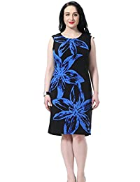 Chicwe Women's Sleeveless Floral Placement Printed Lined Plus Size Dress US12-28