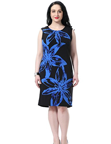 0826535968 Chicwe Women s Plus Size Lined Floral Printed Sleeveless Dress - Knee Length  Work and Casual Dress