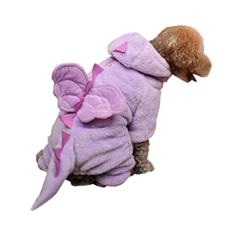 ARJOSA Puppy Dog Cat Thickened Hoodie Jumpsuit Dinosaur Dragon Costume Winter Coat Clothes (Flying Dragon PURPLE, Large)