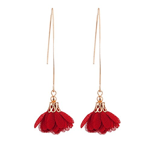 Dangling Red Flower - Infgreate Women Beautiful And Lovely Jewelry Long Dangle Flower Earrings Wedding Party Banquet Vintage Piercing Jewelry Red
