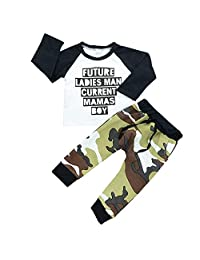 Boys Clothes Set Binmer Kids Letter Print Long Sleeve T-Shirt Tops+Camouflage Pants Outfits