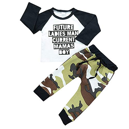 Kshion Toddler Kids Baby Boys Girls Outfits Clothes T-shirt Tops + Camouflage Pants 2PCS Set (Camouflage, 5T) from Kshion