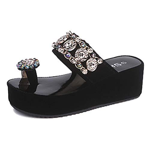 YUCH Et Bout Externe Femme Épais À Bout À Black Chaussures wr6XRqx06