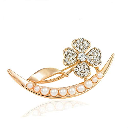 SKZKK Lentil Shape Flower Leaf Jewelry for Women Cluster Jewelry Pearl Inlay Rhinestone Alloy Hollow Corsages Scarf Clip,Collar Pins for Women Elegant Party Gold