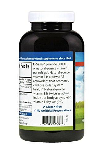 Carlson E-Gems 800 IU, Vitamin E, Heart Health, 250 Soft Gels by Carlson (Image #3)