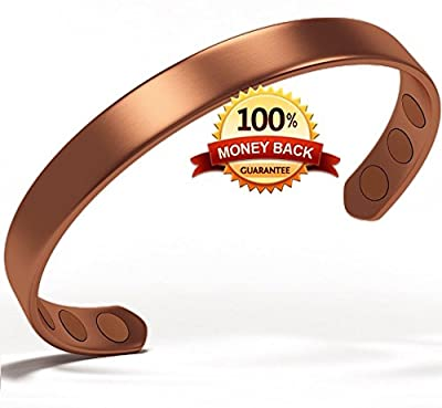 Pure Copper Magnetic Bracelet From Earth Therapy - For Men & Women To Give Relief To Arthritis, RSI, Carpal Tunnel, Migraines, Fatigue & More In A Natural, Non-Invasive Way