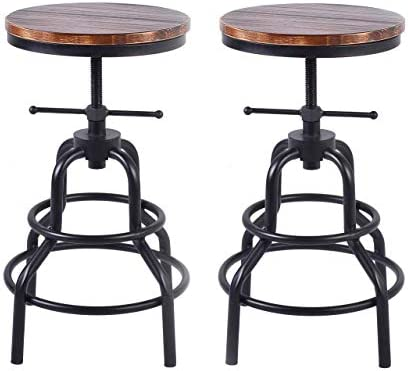 LOKKHAN Vintage Industrial Bar Stool-Rustic Swivel Bar Stool-Round Wood Metal Stool-Kitchen Counter Height Adjustable Pipe Stool-Cast Iron Stool 20-27 Inch,No Assembly Required Set of 2