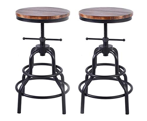LOKKHAN Vintage Industrial Bar Stool-Rustic Swivel Bar Stool-Round Wood Metal Stool-Kitchen Counter Height Adjustable Pipe Stool-Cast Iron Stool 20-27 Inch,No Assembly Required(Set of 2)
