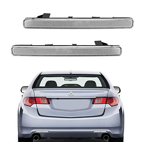 iJDMTOY Clear Lens Rear Bumper Reflector Lenses For 2009-2014 Acura TSX (Euro Accord), OE-Spec LH RH Assembly