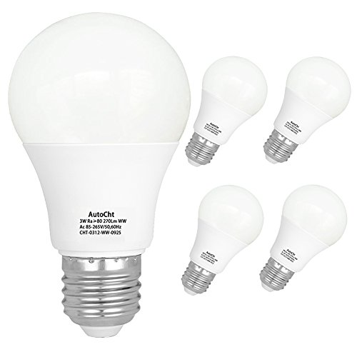 LED Light Bulbs 25 Watt Incandescent Equivalent High Bright E26 Base 3 Watt Soft White Energy Saving Bulbs Home Lighting 270 Lumens, Pack of 5 ()