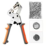 BEAMNOVA Grommet Handheld Hole Punch Pliers Grommet Machine Hand Press Tool W/ 500 Silver Grommets of 3/8 Inch