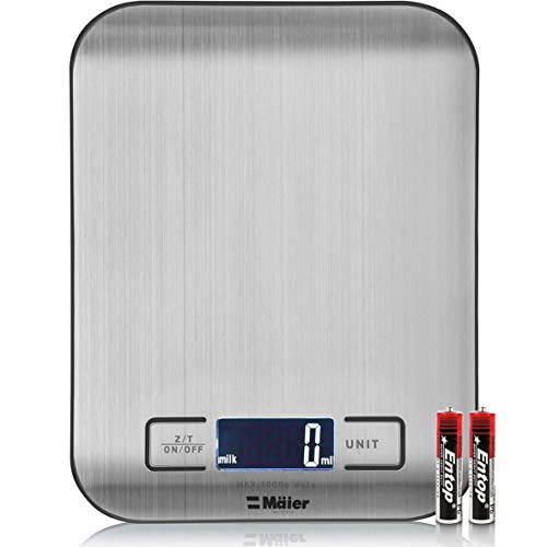 MUELLER Digital Kitchen Scale, 30% Greater Accuracy Quad Transducer, Multi-Function Back-Lit LCD, Stainless Steel, 11 lbs, 5 kg (Batteries Included)