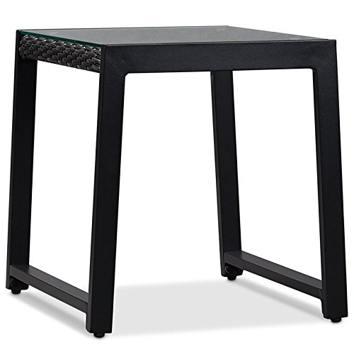 Real Flame Calvin Aluminum Patio End Table in Black (Set of 2)