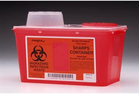 Kendall 8881676285 Monoject Sharps-A-Gator Chimney-Top Sharps Biohazard Waste Container 8 qt Capacity 10-71128 Length x 6-34 Width x 10-113128 Height Medium Red (Case of 20) / Kendall 8881676285 Monoject Sharps-A-Gator Chimney-Top ...