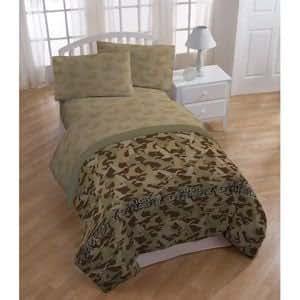5pc Boy Duck Dynasty Green Camo Full Comforter & Sheet Set(5pc Set)