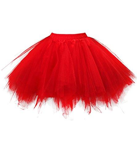 Dresstore Women's Short Vintage Petticoat Skirt Ballet Bubble Tutu Multi-colored Red (Short Bubble Skirt)