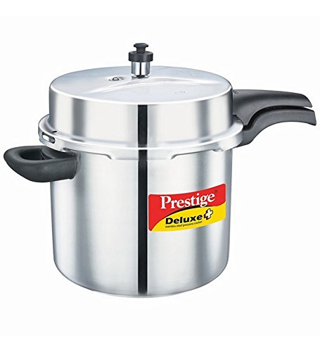 Prestige 10-Liter Deluxe Alpha Induction Base Stainless Steel Pressure Cooker, Small, Silver