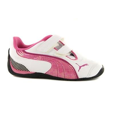7cb1959e12cb Girls Puma Drift Cat III Bling White Pink Leather Trainers UK 4.5   EUR 21   Amazon.co.uk  Shoes   Bags