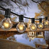 AVANLO 25Ft G40 String Lights with 25 Globe Clear Bulbs & 2 Spare Bulbs Waterproof IP44 Patio Hanging Lights for Indoor…