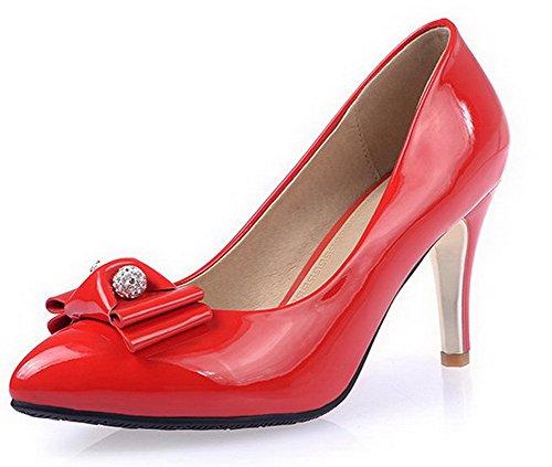 319255760c13a2 AllhqFashion Damen Ziehen auf Mikrofaser Spitz Zehe Stiletto Rein Pumps  Schuhe Rot