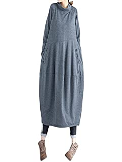 Longra Maxikleider Damen Herbst Winter Leinenkleid Laterne Langes Kleid  Damen Rollkragen Lose Kleid Boho T- 89ae8d54da