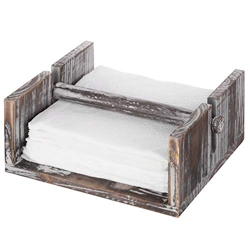 MyGift Torched Wood Napkin Holder Tray with Center Bar Weighted -