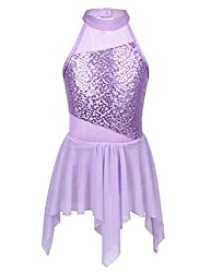 Lavender Sequins Halterneck Leotard with Irregular Skirt