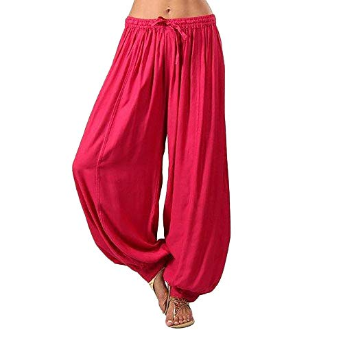WOCACHI Womens Cotton Linen Wide Leg Pants Plus Size Solid Color Loose Harem Lounge Yoga Pants Trousers 2019 Summer New Deals Sales Under 10 Dollars Dance Workout Baggy Stretch ()