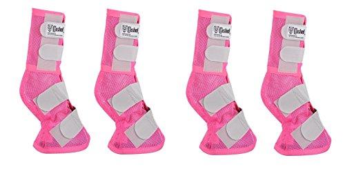 Cashel Crusader Horse Protection Fly Leg Guards, Designer Style, Set of Four, Pink, Small Quarter Horse/Arab - Mask Cashel Pink Fly