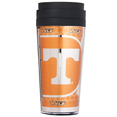 (Great American Products NCAA Tennessee Volunteers Acrylic Travel Tumbler with Metallic Graphics, 16 oz, Black)