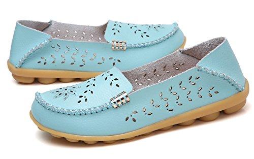 Planos Mujer Natural caminar De Transpirable Mocasines Sky Azul Blue venuscelia q6wPWXTnw