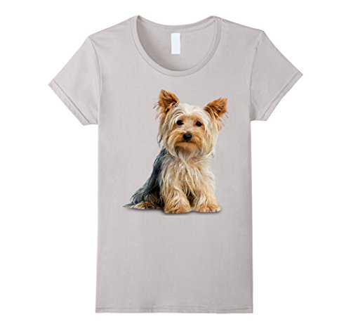 Women's Yorkie Yorkshire Terrier on a Tee Shirt XL Silver