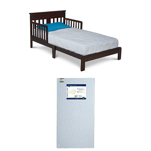 Delta Children Scottsdale Toddler Bed, Black Cherry with Serta Perfect Start Crib and Toddler Mattress