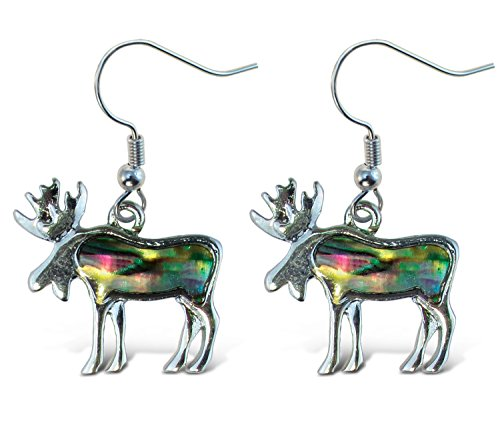 Puzzled Multi-colored Moose Dangle Post Fish Hook Drop Earrings, 1 Inch Fashionable Sparkling Elegant Jewelry with Genuine New Zealand Paua Shell Wildlife Mountain Animals Themed Ear Accessory (2 Pcs)