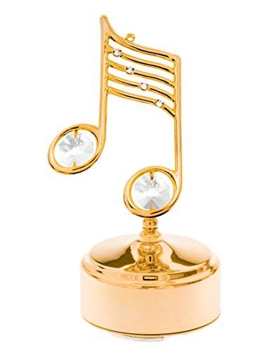 Music Note 24k Gold Plated Swarovski Crystal Rotating Musical Figurine