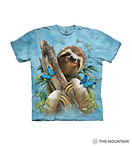 - The Mountain Sloth & Butterflies Child T-Shirt, Blue, Large