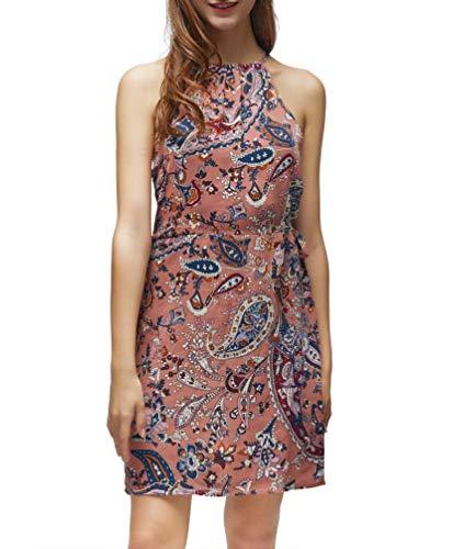 FanXinXing Women's Summer Halter Neck Floral Print Sleeveless Summer Casual Sundress Mini Dress S-Flower Brown