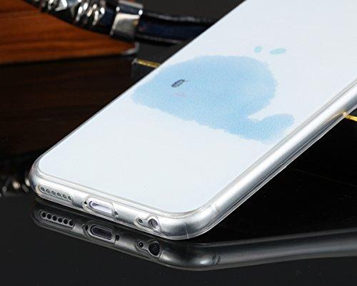 """JewelryWe Blaue Wolken Wal TPU Silikon Handy Case Schutzhülle Tasche Hülle Rückenschutzhülle Etui für Apple iPhone 6(4,7""""), Transparent"""