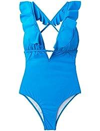 e0877096c7c8d Women's Falbala One Piece Swimsuit Deep V Neck Monokini Swimsuit