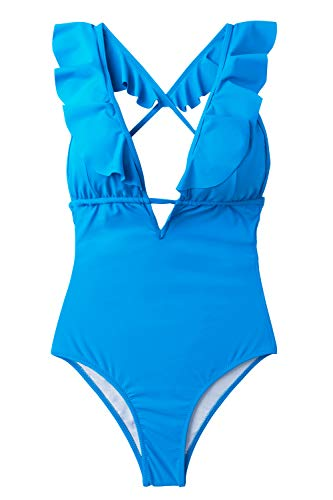 606a045755364 CUPSHE Women's Falbala One Piece Swimsuit Deep V Neck Monokini Swimsuit,  Sky Blue, Large
