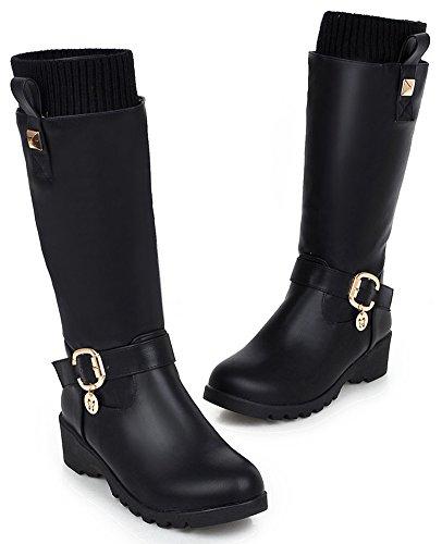 Idifu Womens Warm Bezaaid Mid Sleehak Middenkuit Laarzen Met Hanger Zwart
