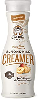 product image for Califia Farms - Hazelnut Coffee Creamer with Almond Milk and Coconut Cream, 25.4 Oz, Low Calorie and Sugar, Non Dairy, Plant Based, Vegan, Non-GMO