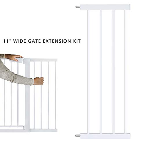 EAVSOW Steel Pet Gate Extension kit Pet Safety Gate Extension Measures -White