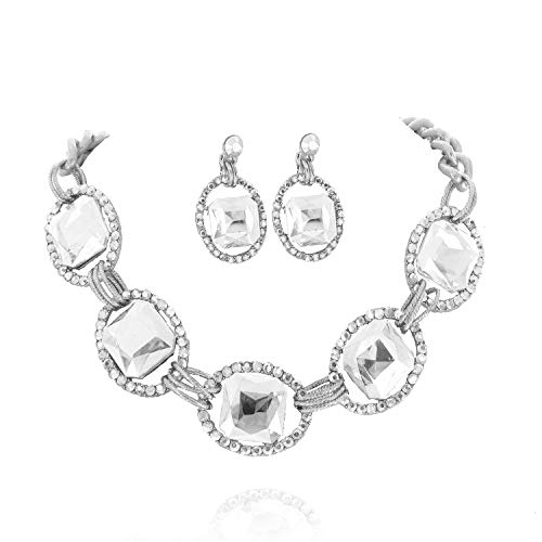 (SP Sophia Collection Austrian Crystal Women's Chunky Chain Necklace and Earrings Jewelry Set Silver Clear)
