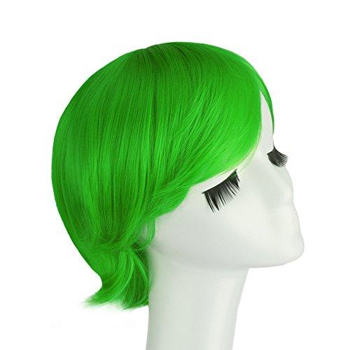[LeWang Men's Short Strait Cosplay Costume Wig (Grass Green)] (Short Green Wig)