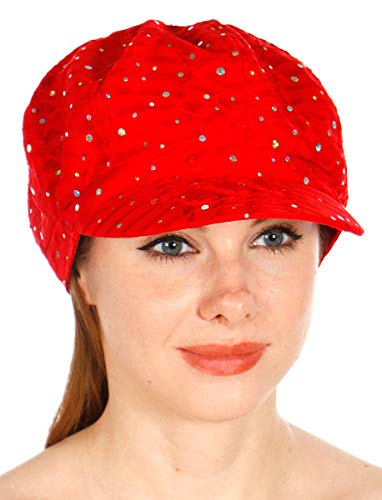 Sequin newboy Cabbie hat with Visor, for Women, Summer Gatsby Cap, Chemo hat Red