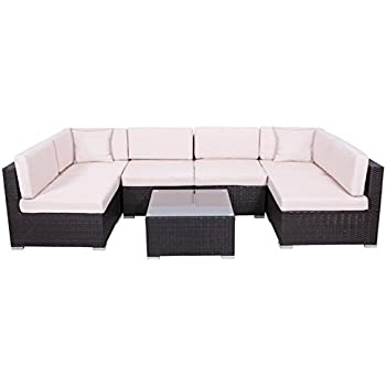 Amazon Com Palm Springs Outdoor 7 Pc Rattan Sectional