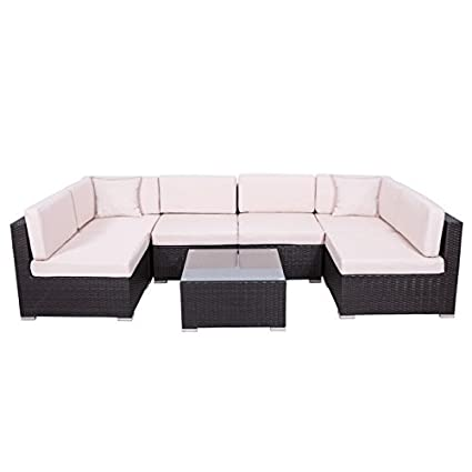 Palm Springs Outdoor 7 pc Rattan Sectional Sofa Set w/ Chairs, Table &  Cushions - Amazon.com: Palm Springs Outdoor 7 Pc Rattan Sectional Sofa Set W